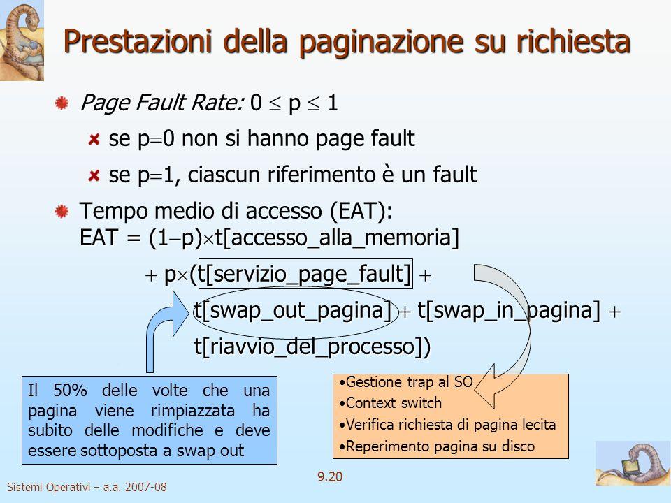Sistemi Operativi a.a. 2007-08 9.19 Paginazione pura È possibile avviare lesecuzione di un processo senza pagine in memoria Quando il SO carica nel co
