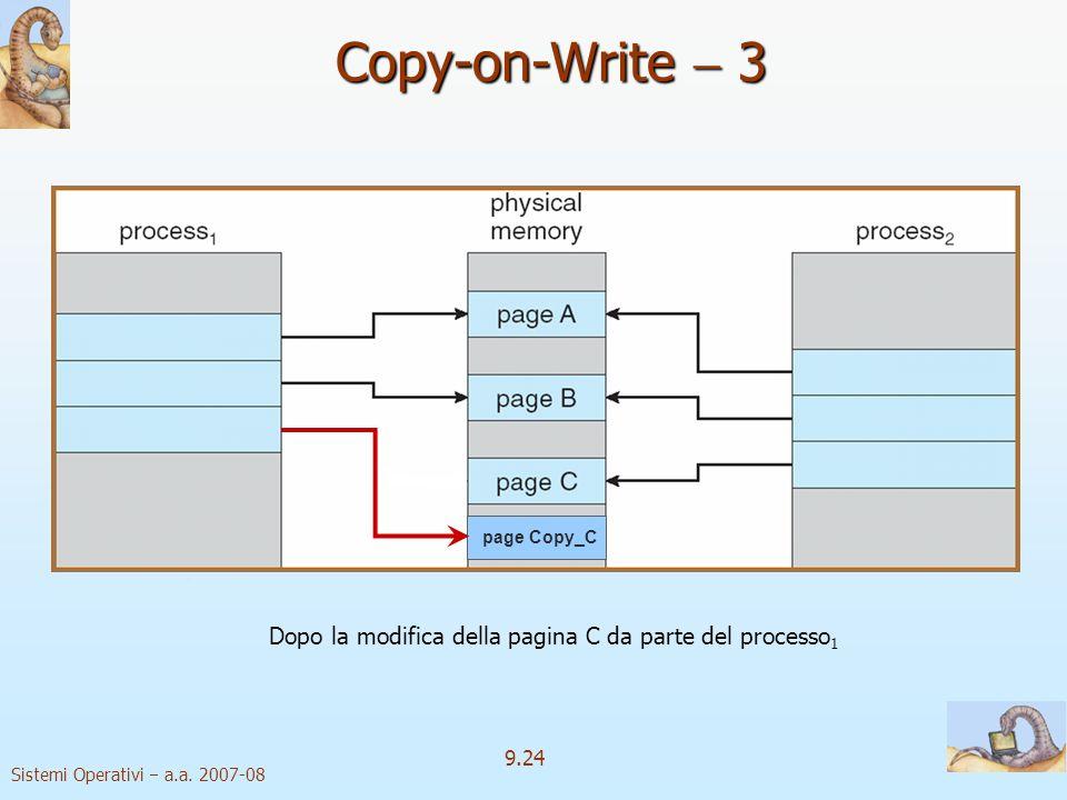Sistemi Operativi a.a. 2007-08 9.23 Copy-on-Write 2 Prima della modifica della pagina C da parte del processo 1