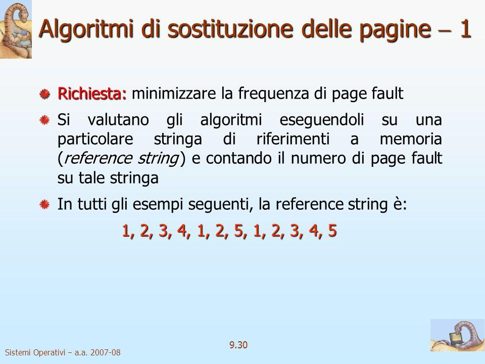 Sistemi Operativi a.a. 2007-08 9.29 Sostituzione delle pagine 4