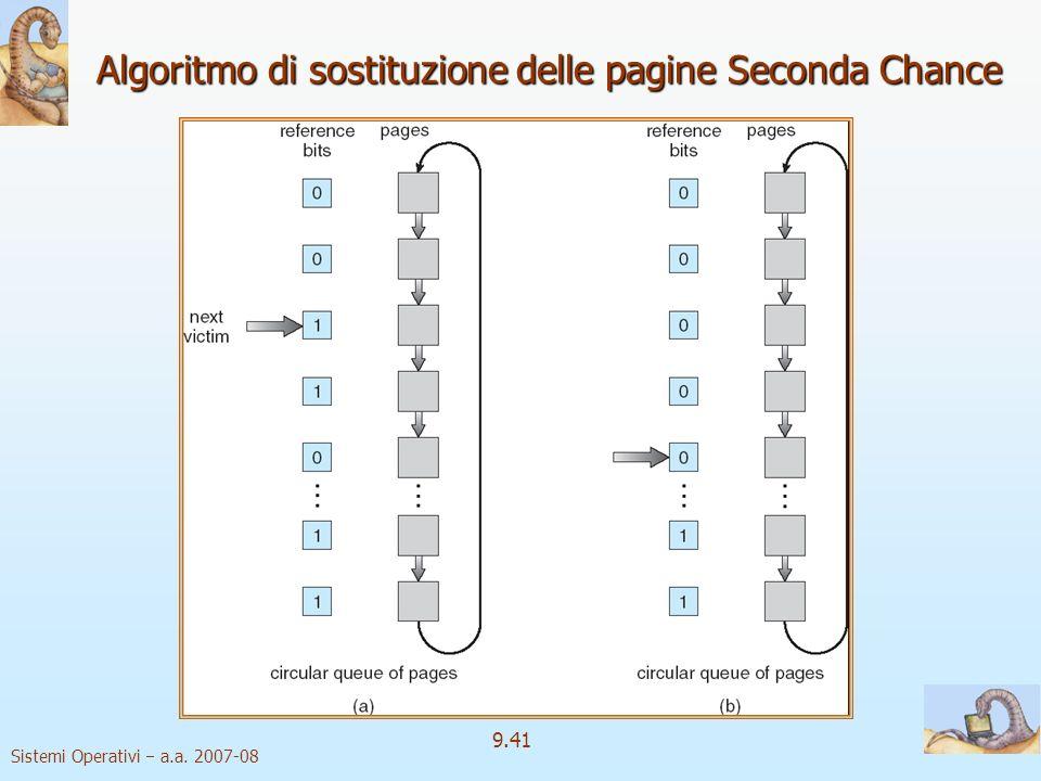 Sistemi Operativi a.a. 2007-08 9.40 Algoritmi di approssimazione a LRU 2 Seconda Chance Algoritmo di base: FIFO È necessario un bit di riferimento Qua
