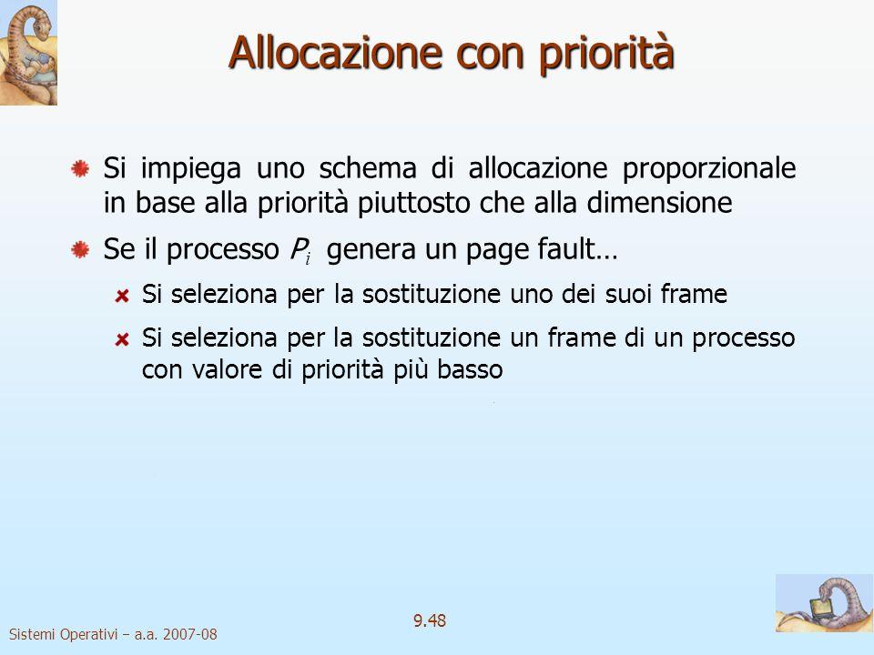 Sistemi Operativi a.a. 2007-08 9.47 Allocazione statica Allocazione uniforme Allocazione uniforme Per esempio, se si hanno a disposizione 100 frame pe