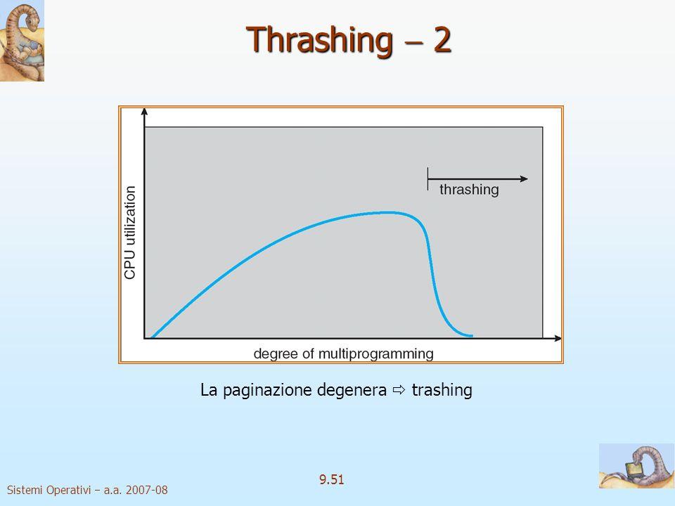 Sistemi Operativi a.a. 2007-08 9.50 Thrashing 1 Se un processo non ha abbastanza pagine fisiche a disposizione, la frequenza di page fault è molto alt
