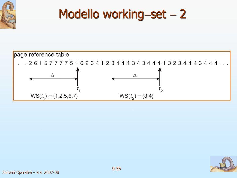 Sistemi Operativi a.a. 2007-08 9.54 Modello working set 1 finestra di working–set un numero fissato di riferimenti a pagina Esempio: Esempio: 10.000 i