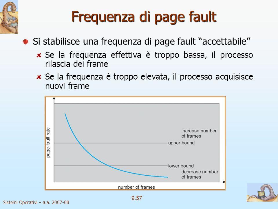 Sistemi Operativi a.a. 2007-08 9.56 Come stabilire lo working set? Problema: Problema: la finestra del working set è mobile, con riferimenti che entra