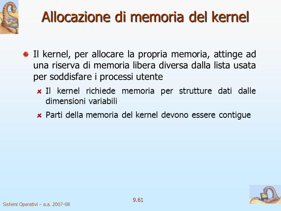 Sistemi Operativi a.a. 2007-08 9.60 File mappati in memoria 3 Permette a più processi di mappare contemporaneamente lo stesso file, garantendo la cond