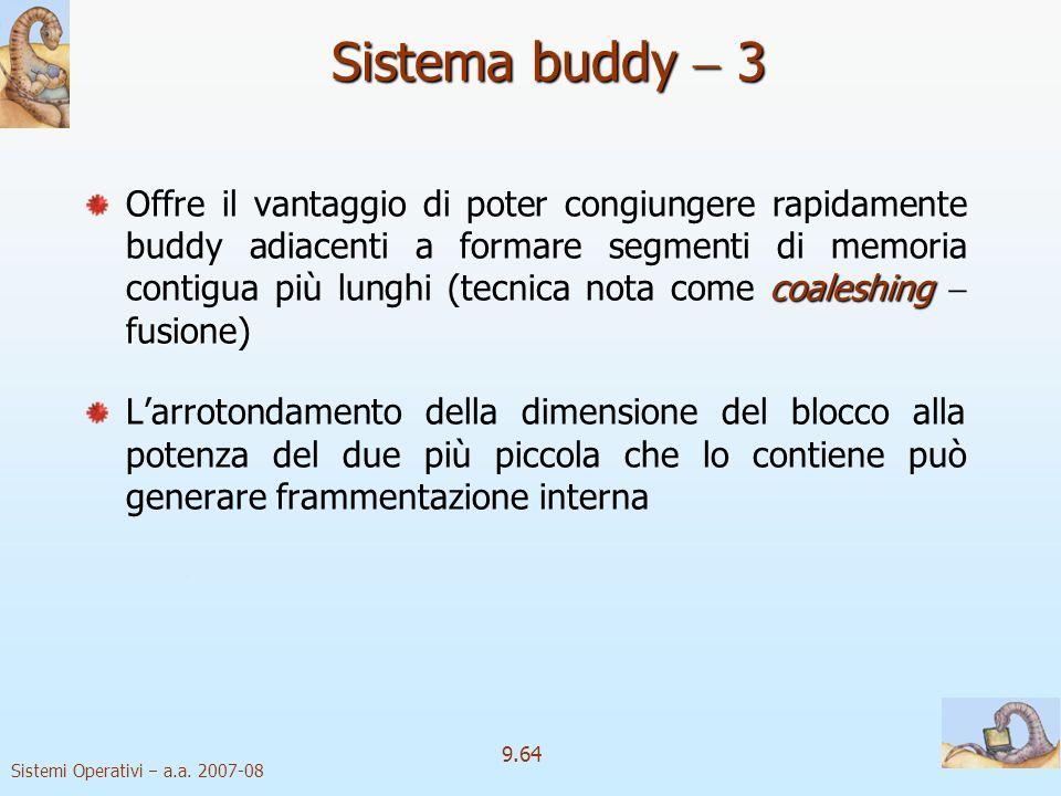 Sistemi Operativi a.a. 2007-08 9.63 Sistema buddy 2