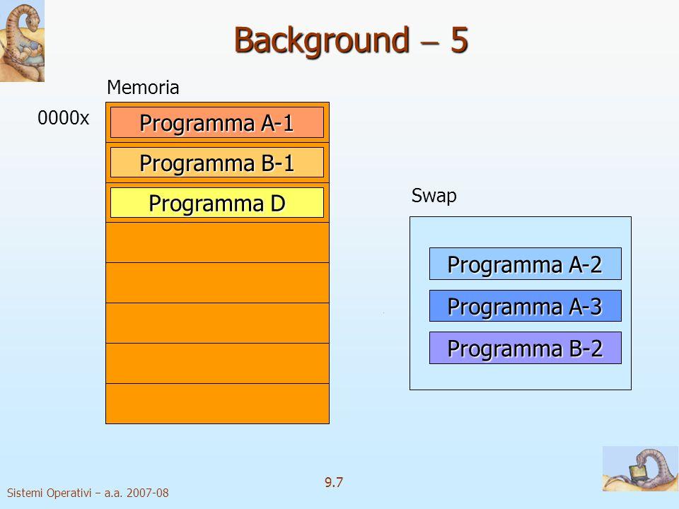 Sistemi Operativi a.a. 2007-08 9.27 Sostituzione delle pagine 2