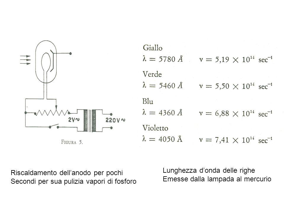 Riscaldamento dellanodo per pochi Secondi per sua pulizia vapori di fosforo Lunghezza donda delle righe Emesse dalla lampada al mercurio