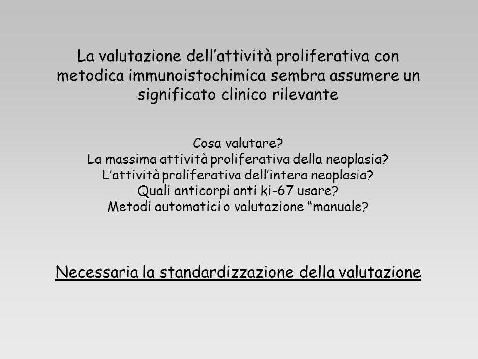 La valutazione dellattività proliferativa con metodica immunoistochimica sembra assumere un significato clinico rilevante Cosa valutare? La massima at