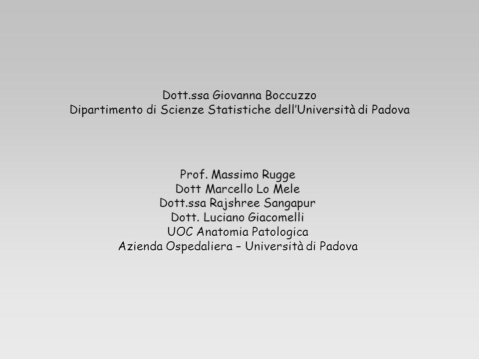 Dott.ssa Giovanna Boccuzzo Dipartimento di Scienze Statistiche dellUniversità di Padova Prof. Massimo Rugge Dott Marcello Lo Mele Dott.ssa Rajshree Sa
