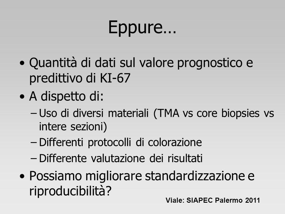 Eppure… Quantità di dati sul valore prognostico e predittivo di KI-67 A dispetto di: –Uso di diversi materiali (TMA vs core biopsies vs intere sezioni