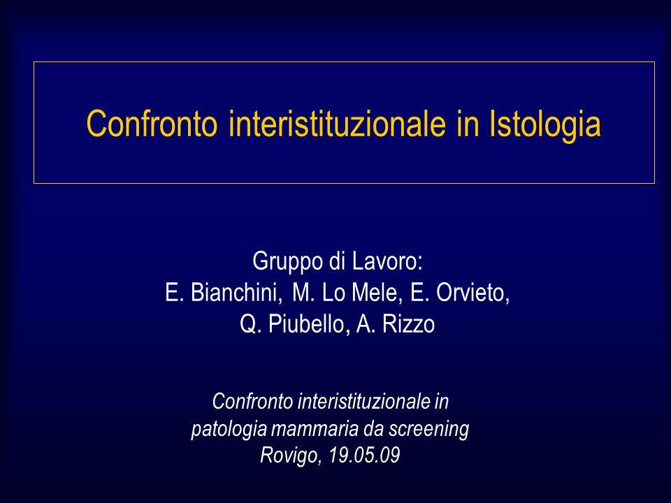 Confronto interistituzionale in Istologia Obiettivo Valutazione concordanza diagnostica su Istotipo Grading