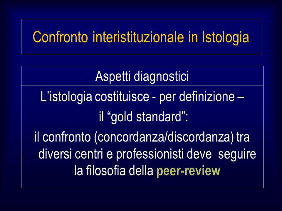 Aspetti diagnostici Listologia costituisce - per definizione – il gold standard: il confronto (concordanza/discordanza) tra diversi centri e professionisti deve seguire la filosofia della peer-review Confronto interistituzionale in Istologia