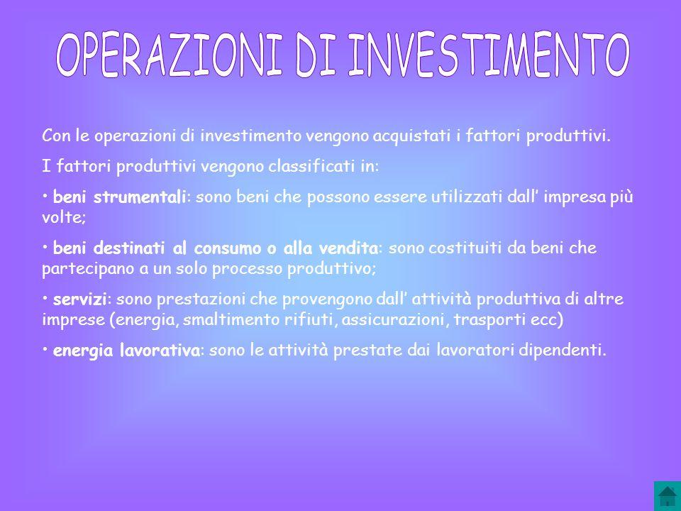 Con le operazioni di investimento vengono acquistati i fattori produttivi.