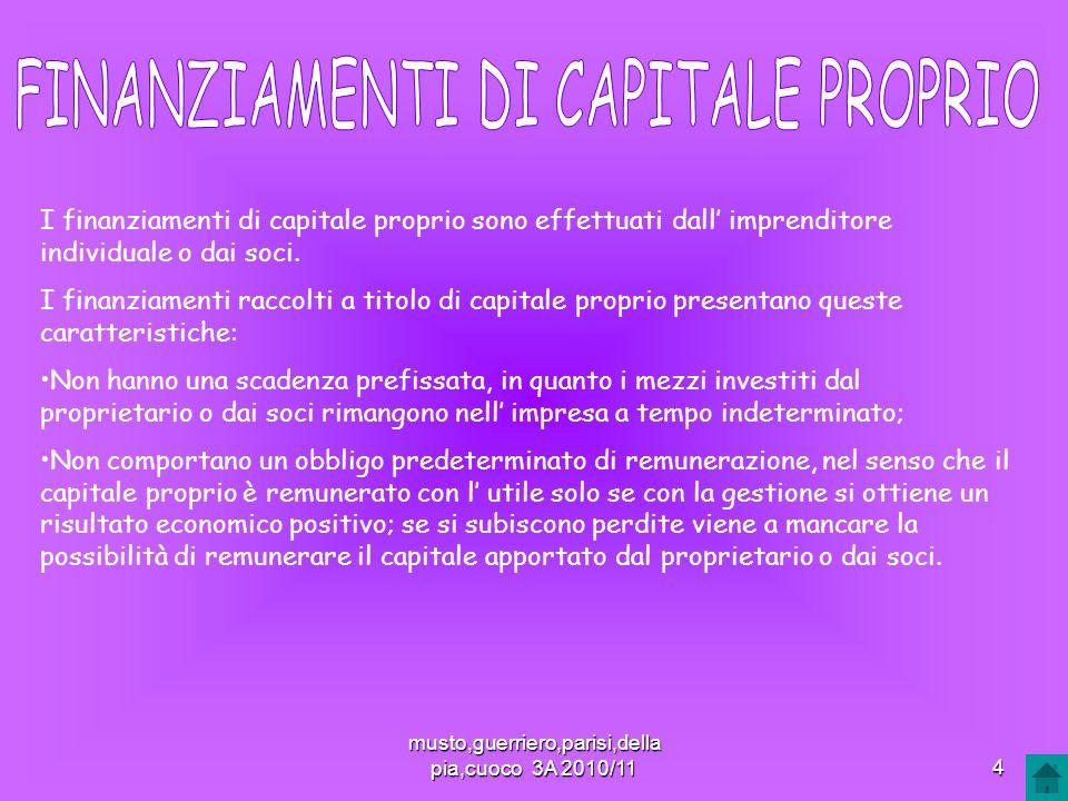 I finanziamenti di capitale proprio sono effettuati dall imprenditore individuale o dai soci. I finanziamenti raccolti a titolo di capitale proprio pr