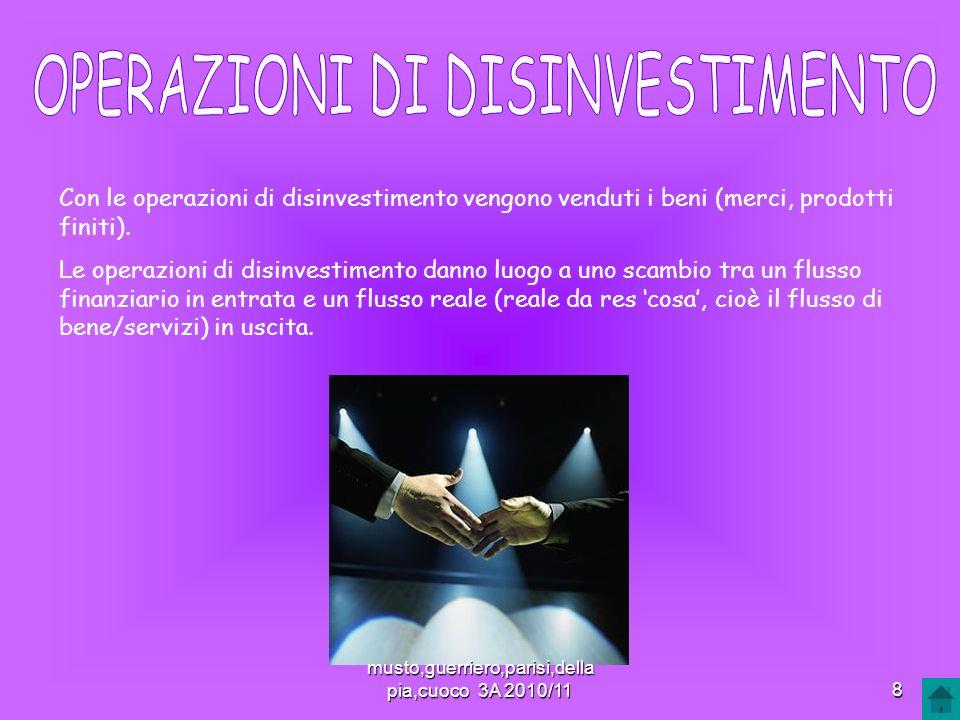 Con le operazioni di disinvestimento vengono venduti i beni (merci, prodotti finiti). Le operazioni di disinvestimento danno luogo a uno scambio tra u