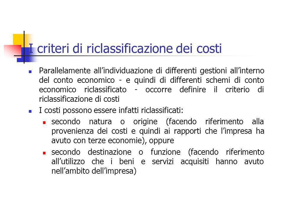 I criteri di riclassificazione dei costi Parallelamente allindividuazione di differenti gestioni allinterno del conto economico - e quindi di differen