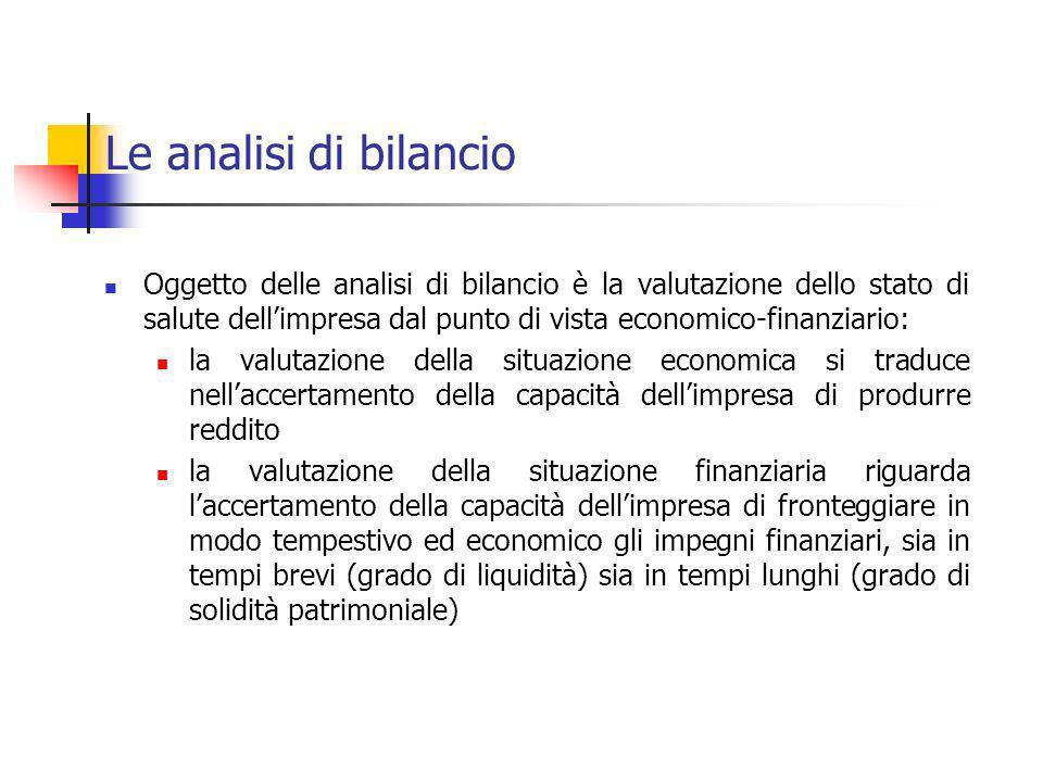 Le analisi di bilancio Oggetto delle analisi di bilancio è la valutazione dello stato di salute dellimpresa dal punto di vista economico-finanziario: