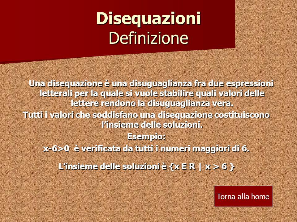 Disequazioni Definizione Una disequazione è una disuguaglianza fra due espressioni letterali per la quale si vuole stabilire quali valori delle lettere rendono la disuguaglianza vera.