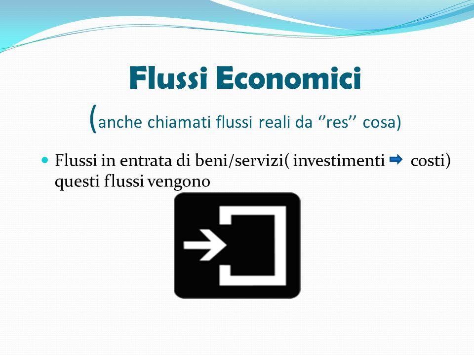 Flussi Economici ( anche chiamati flussi reali da res cosa) Flussi in entrata di beni/servizi( investimenti costi) questi flussi vengono