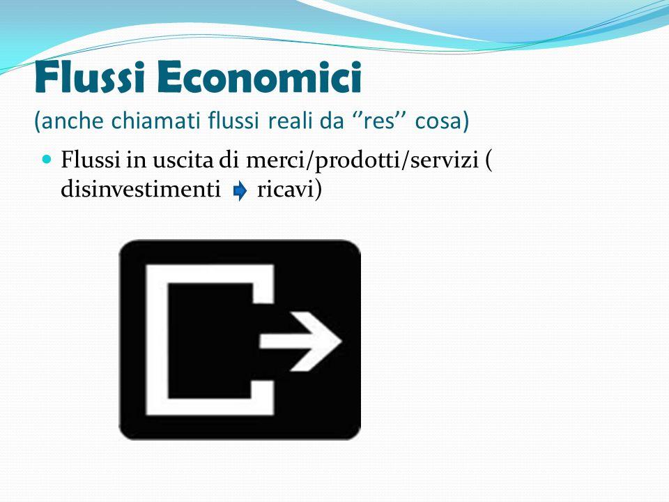 Flussi Economici (anche chiamati flussi reali da res cosa) Flussi in uscita di merci/prodotti/servizi ( disinvestimenti ricavi)