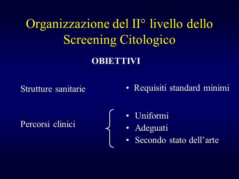 Organizzazione del II° livello dello Screening Citologico Strutture sanitarie Percorsi clinici Uniformi Adeguati Secondo stato dellarte Requisiti stan