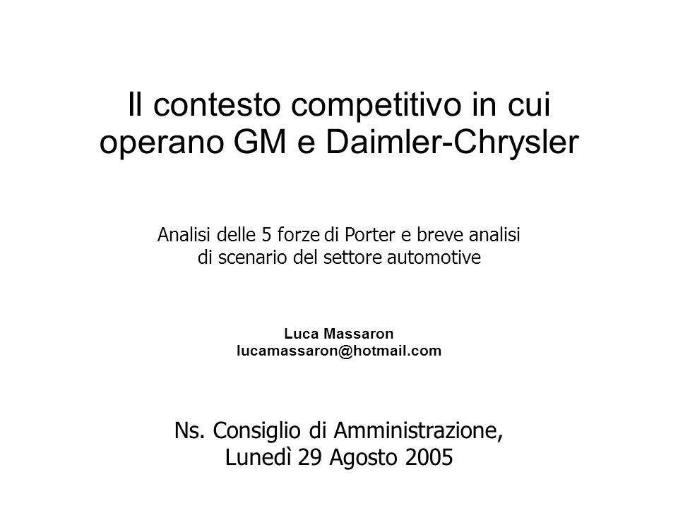 Il contesto competitivo in cui operano GM e Daimler-Chrysler Ns.