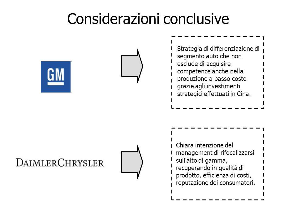 Strategia di differenziazione di segmento auto che non esclude di acquisire competenze anche nella produzione a basso costo grazie agli investimenti s