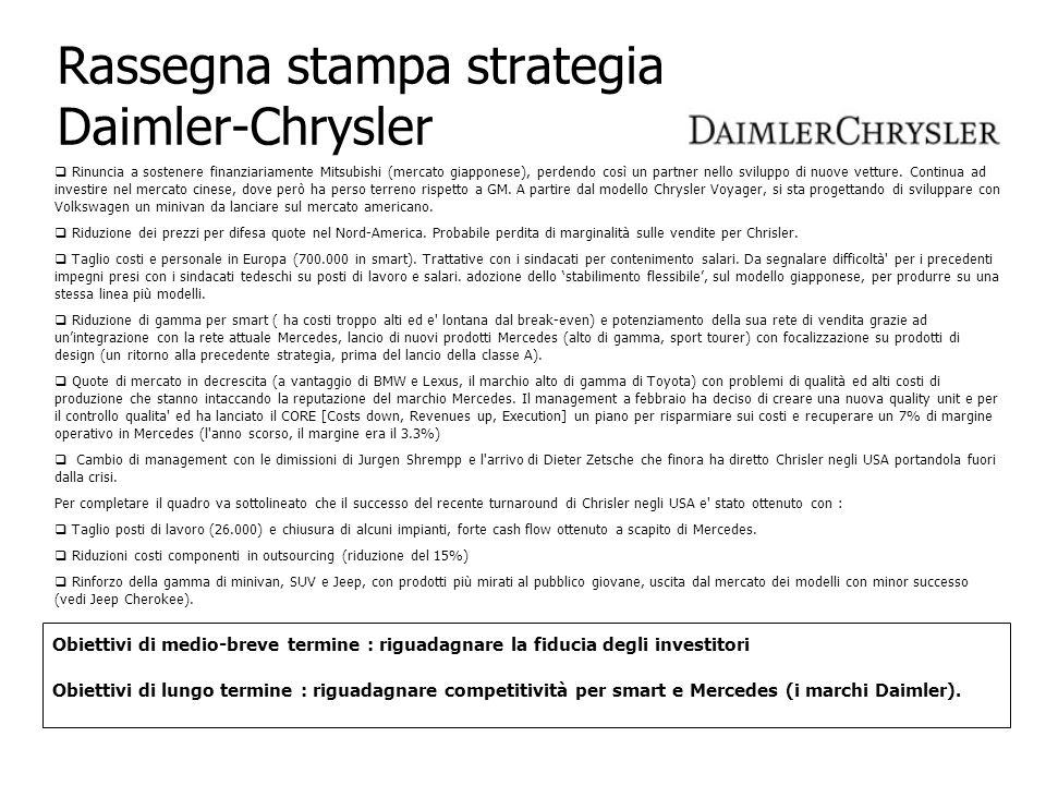Rassegna stampa strategia Daimler-Chrysler Obiettivi di medio-breve termine : riguadagnare la fiducia degli investitori Obiettivi di lungo termine : r
