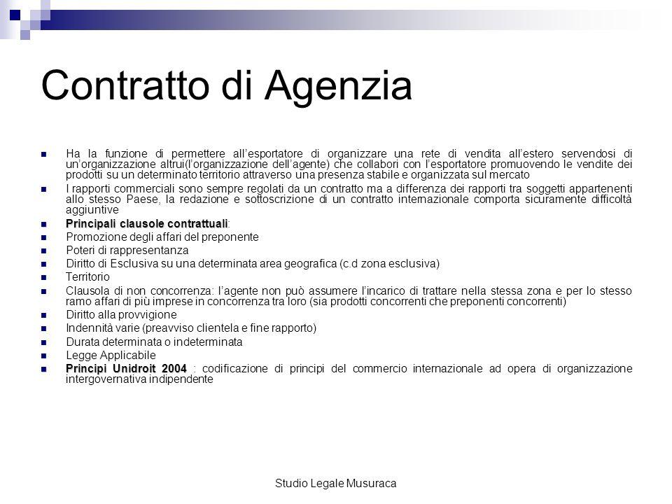Studio Legale Musuraca Il contratto di agenzia prevede specifici obblighi a carico delle parti.