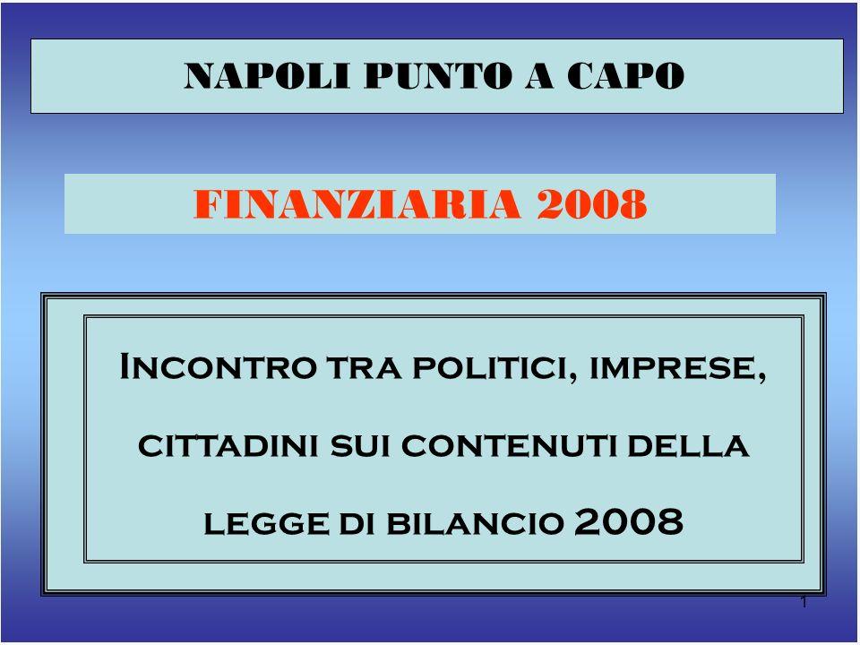 1 NAPOLI PUNTO A CAPO FINANZIARIA 2008 Incontro tra politici, imprese, cittadini sui contenuti della legge di bilancio 2008
