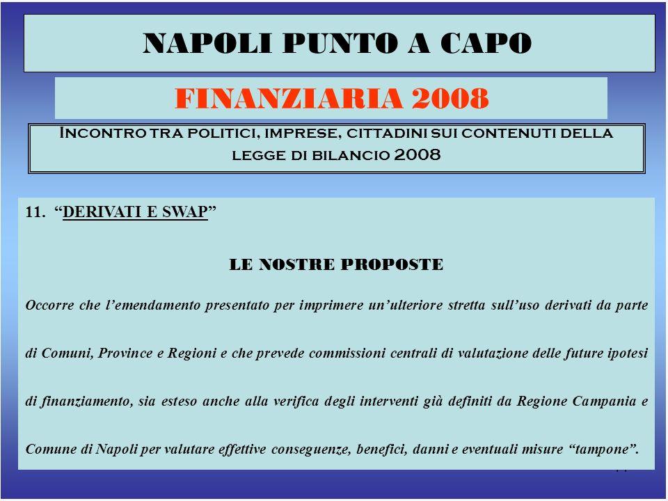 14 NAPOLI PUNTO A CAPO FINANZIARIA 2008 Incontro tra politici, imprese, cittadini sui contenuti della legge di bilancio 2008 11.