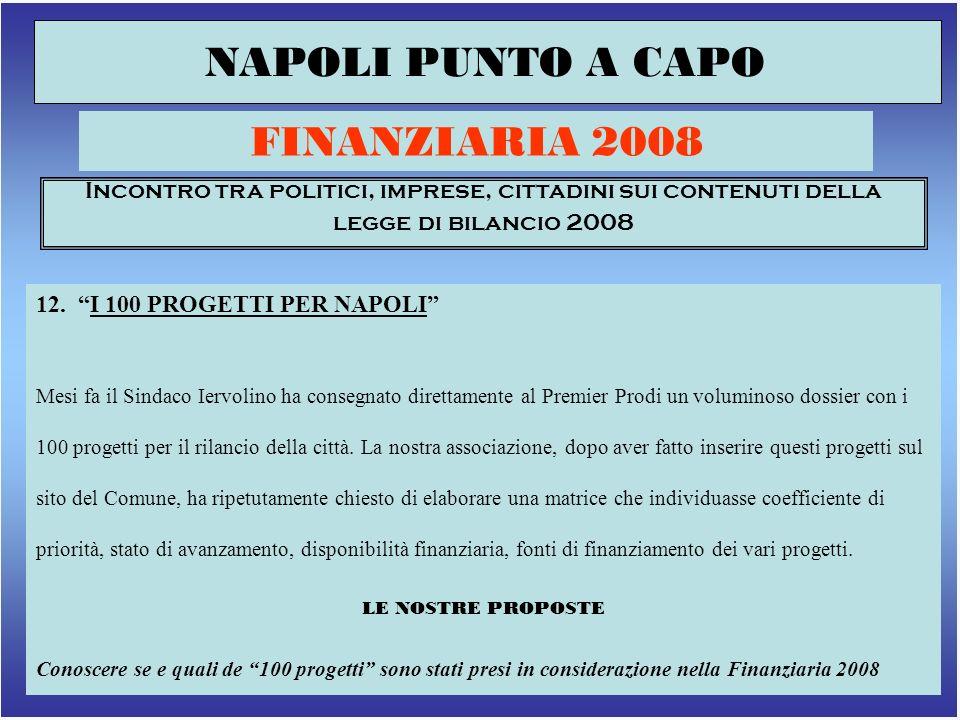 15 NAPOLI PUNTO A CAPO FINANZIARIA 2008 Incontro tra politici, imprese, cittadini sui contenuti della legge di bilancio 2008 12.