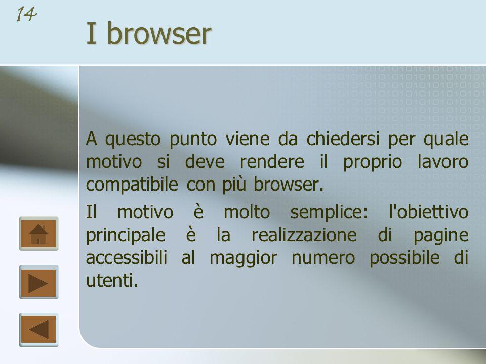 13 I browser Ogni browser contiene un programma chiamato parser, che interpreta i tag contenuti in un file Html e visualizza i risultati sulla finestra del browser, che tecnicamente è chiamata canvas.