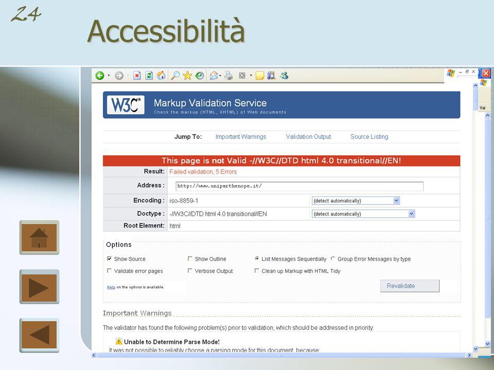 23Accessibilità L accessibilità dei siti é strettamente legata, se non proprio fondata, sulla correttezza assoluta del codice (X)HTML e CSS in base alle direttive emesse dal W3C.