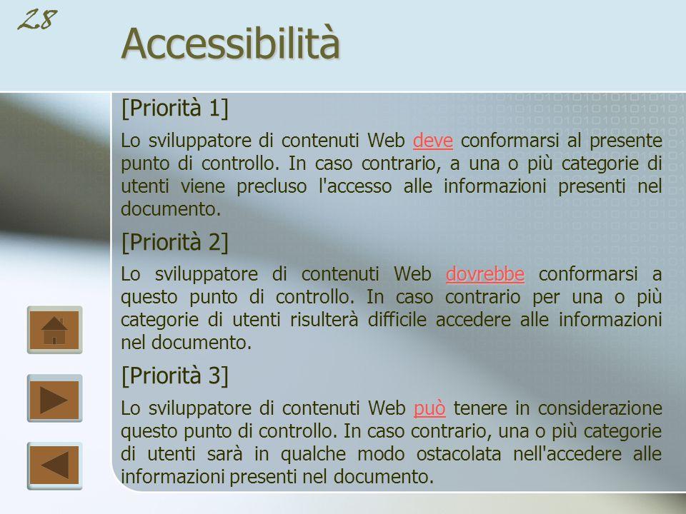 27Accessibilità La specifica definisce tre livelli di conformità per facilitare i riferimenti da parte di altre organizzazioni.