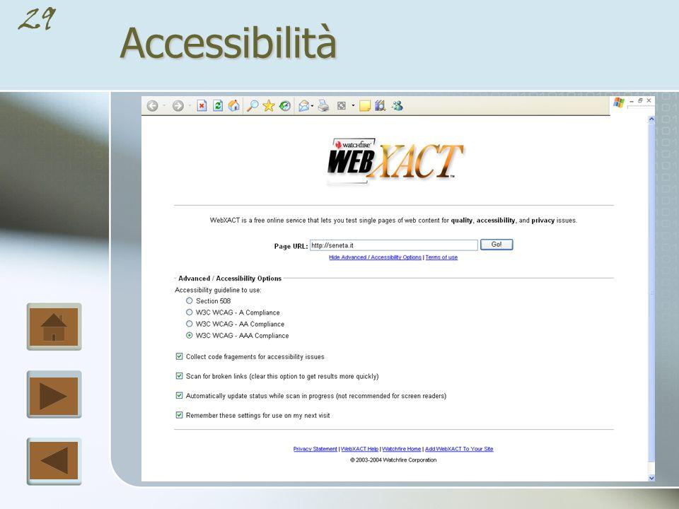 28Accessibilità [Priorità 1] deve Lo sviluppatore di contenuti Web deve conformarsi al presente punto di controllo.
