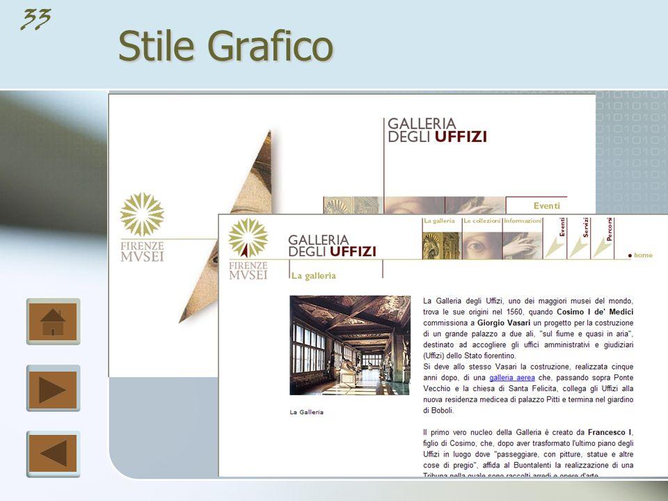 32 Stile Grafico La progettazione di un sito web comprende anche lo stile grafico di ogni singola pagina; senza un impatto visivo di forma, colore e contrasto le pagine possono risultare noiose e non attireranno il visitatore.