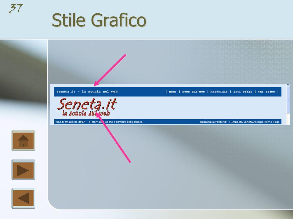 36 Stile Grafico Ogni pagina deve avere un titolo generale relativo al sito e che si colloca generalmente in alto.