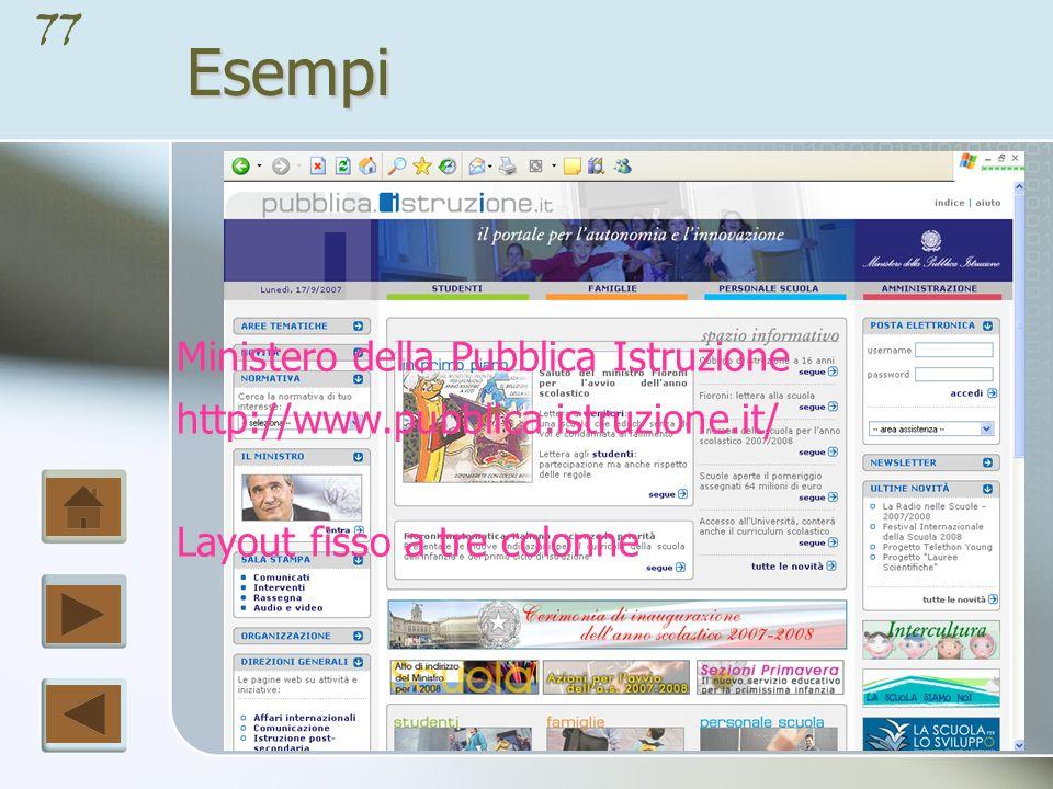 76Esempi Ufficio Scolastico Provinciale di Benevento http://www.uspbenevento.it Layout fisso a due colonne