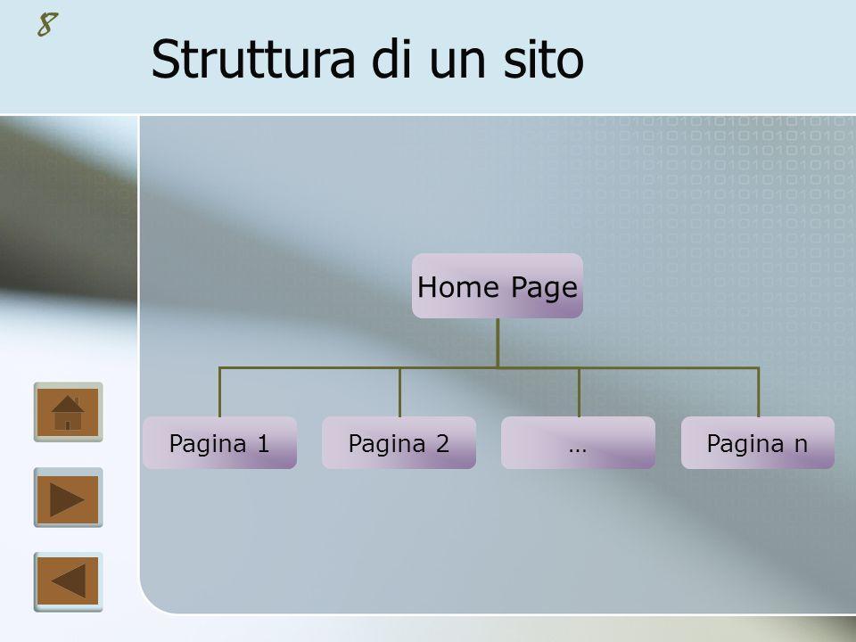 7 Se il sito ha un numero inferiore o pari a 10 pagine, è possibile prevedere un accesso diretto ad ognuna di esse a partire dalla Home Page.