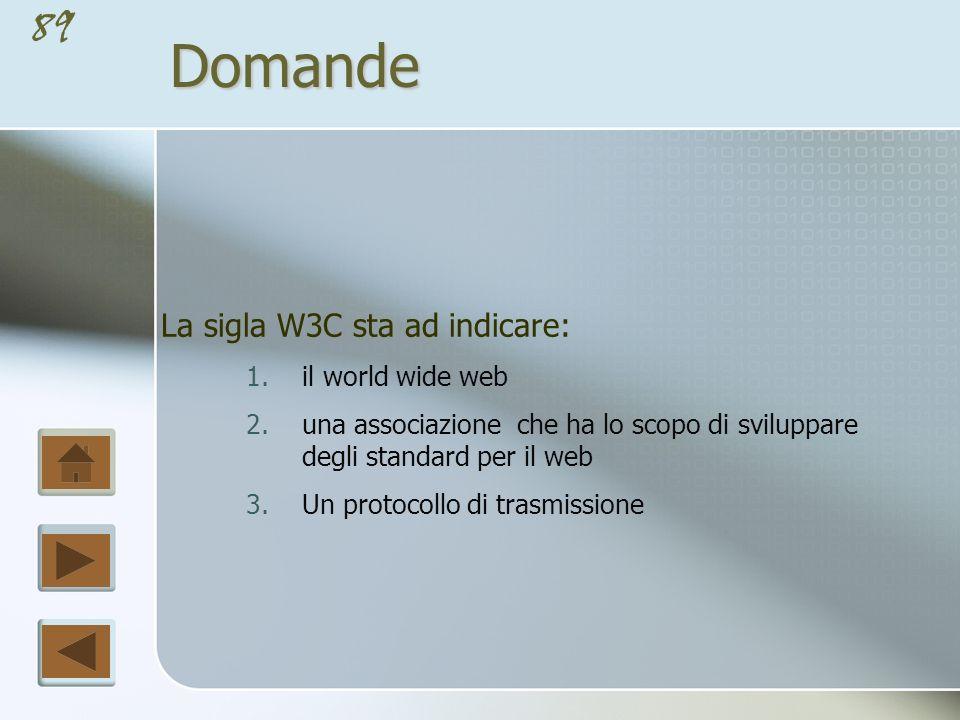 88Domande Rendere un sito web accessibile secondo le raccomandazioni W3C significa : 1.permettere l accesso all informazione contenuta nel sito a tutti senza limitazioni hardware o software 2.permettere l accesso selettivo all informazione contenuta nel sito al fine di impedire laccesso ai minori 3.permettere l accesso all informazione contenuta nel sito anche a persone con disabilità fisiche di diverso tipo e a chi dispone di strumenti hardware e software limitati