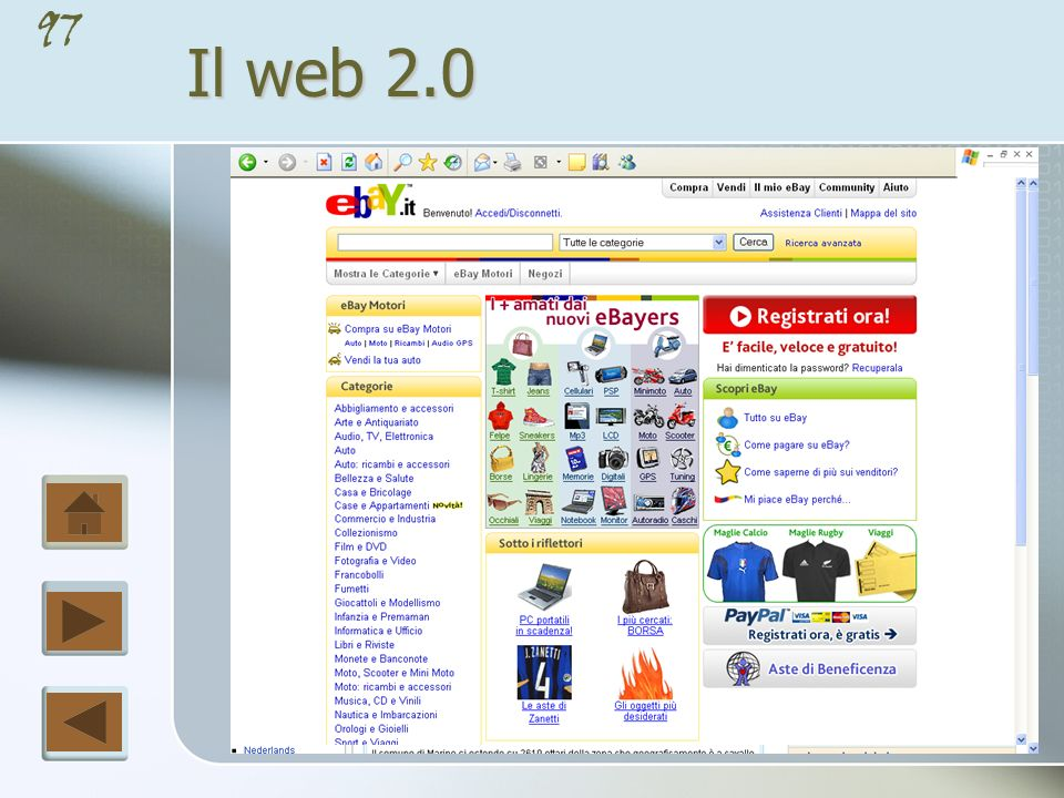 96 Il web 2.0 Originariamente il web è stato concepito come modo per visualizzare documenti ipertestuali statici (creati con l uso del linguaggio HTML); questo approccio può essere definito come Web 1.0.