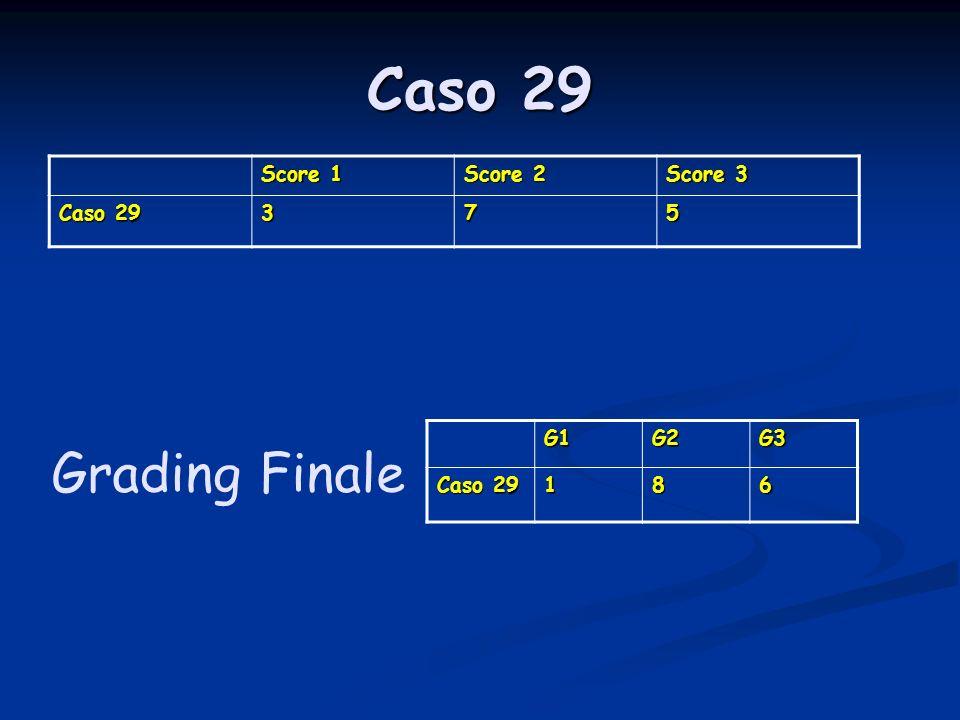 Caso 29 Score 1 Score 2 Score 3 Caso 29 375 G1G2G3 186 Grading Finale