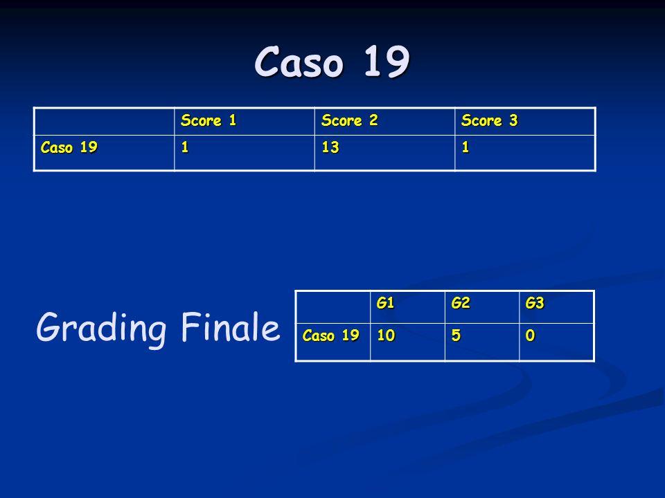 Caso 19 Score 1 Score 2 Score 3 Caso 19 1131 G1G2G3 1050 Grading Finale
