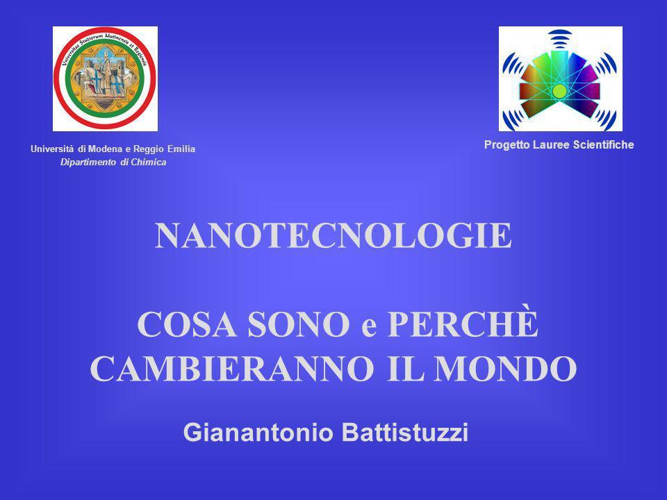 Gianantonio Battistuzzi NANOTECNOLOGIE COSA SONO e PERCHÈ CAMBIERANNO IL MONDO Università di Modena e Reggio Emilia Dipartimento di Chimica Progetto L