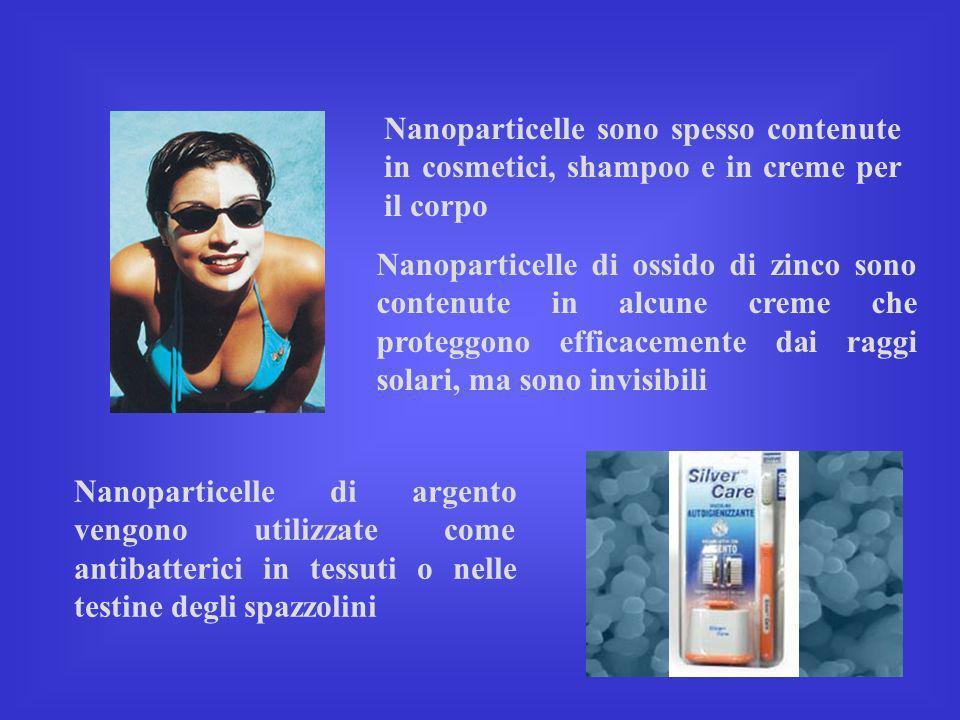 Nanoparticelle sono spesso contenute in cosmetici, shampoo e in creme per il corpo Nanoparticelle di ossido di zinco sono contenute in alcune creme ch