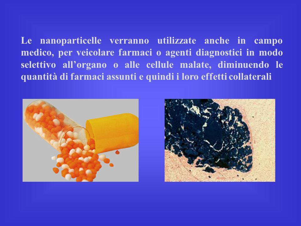Le nanoparticelle verranno utilizzate anche in campo medico, per veicolare farmaci o agenti diagnostici in modo selettivo allorgano o alle cellule mal