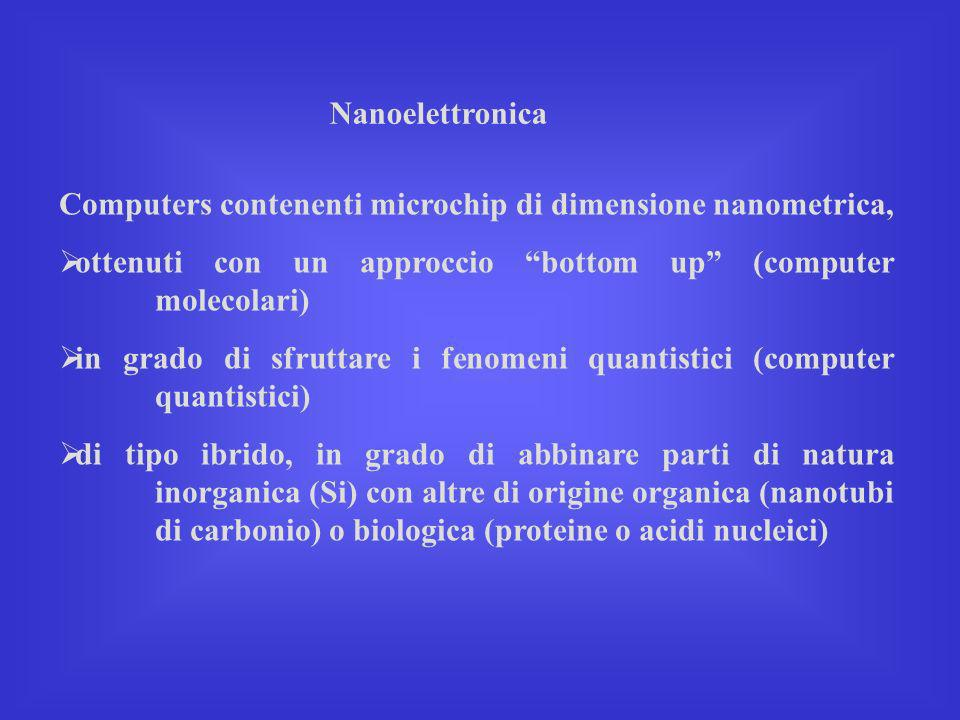 Nanoelettronica Computers contenenti microchip di dimensione nanometrica, ottenuti con un approccio bottom up (computer molecolari) in grado di sfrutt