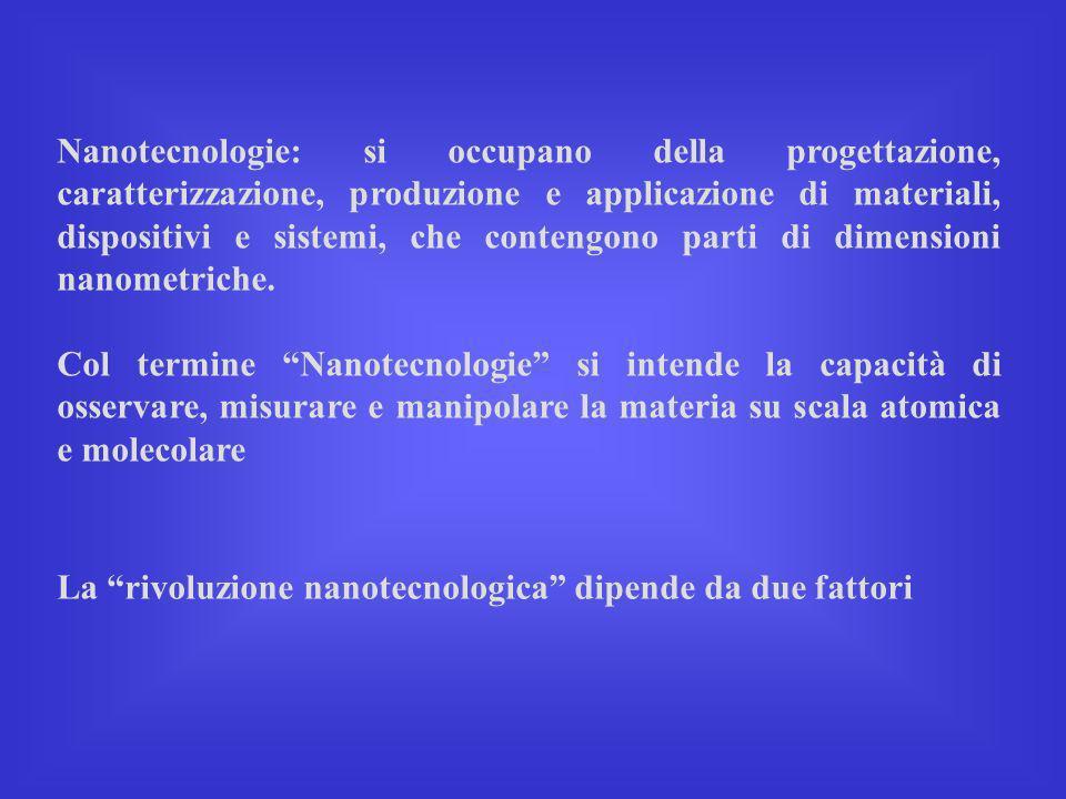 Nanotecnologie: si occupano della progettazione, caratterizzazione, produzione e applicazione di materiali, dispositivi e sistemi, che contengono part